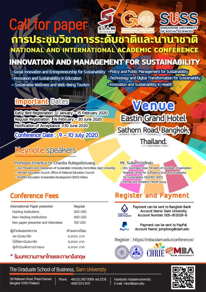 NATIONAL AND INTERNATIONAL ACADEMIC CONFERENCE INNOVATION AND MANAGEMENT FOR SUSTAINABILITY
